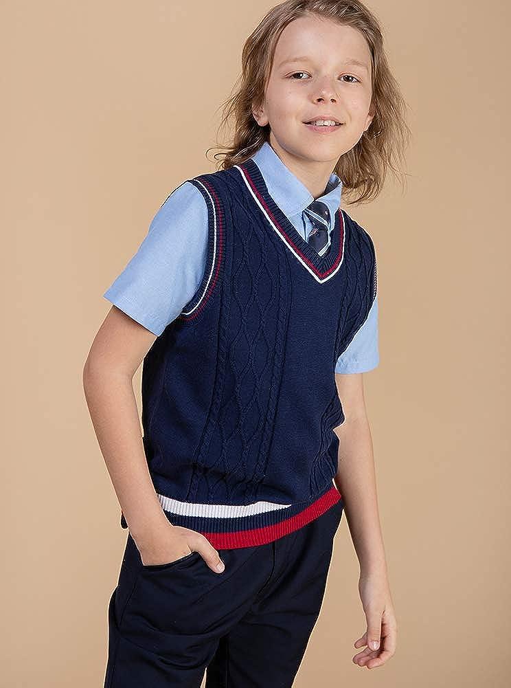 Benito /& Benita Boys Uniform V-Neck Sweater Long Sleeve Crew Neck Cotton Pullover for 3-12Y