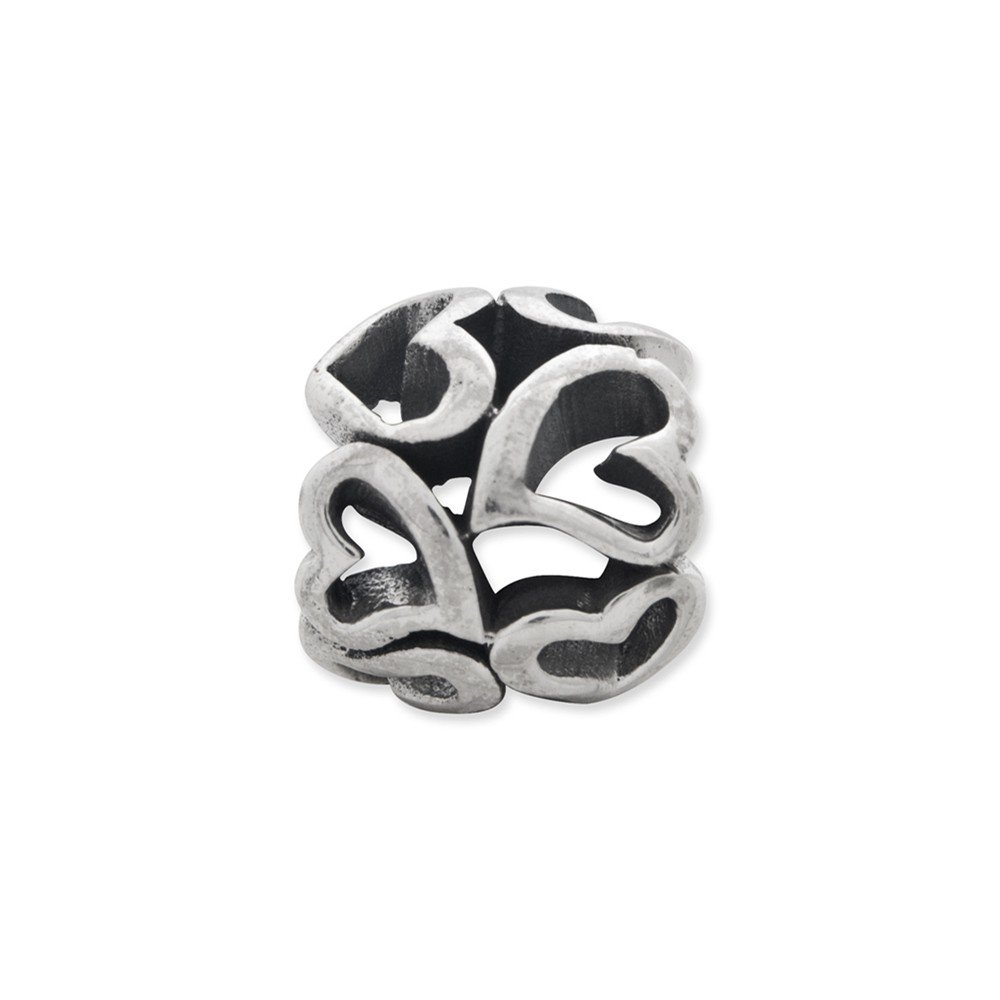 Sterling Silver Jewelry Themed Beads Solid 9.09 mm 9.09 mm Reflections Heart Bead