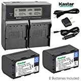 Kastar LCD Dual Smart Fast Charger & Battery (2 PACK) for JVC SSL-JVC50 and JVC GY-HMQ10, GY-LS300, GY-HM200, GY-HM600, GY-HM600E, GY-HM600EC, GY-HM650 GY-HM250