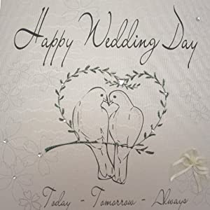 White Cotton Cards Handmade Wedding Doves And Heart Happy Day Card