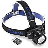 AstroAI LED Headlamp, 4 Modes Headlight, Battery Powered Helmet Light for Camping, Running, Hiking and Reading, 3 AAA Batteries Included