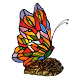 Bieye L10043 Butterfly Tiffany Style Stained Glass Accent Table Lamp (Multi-Colored F)