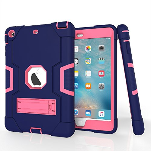 iPad Mini Case, Mini 2 Case, Mini 3 Case, Rugged Kickstand Series - Shockproof Heavy Duty Hybrid Three Layer Armor Defender Kids Child Proof Case Cover for iPad Mini 1/2/3 - Purple Pink