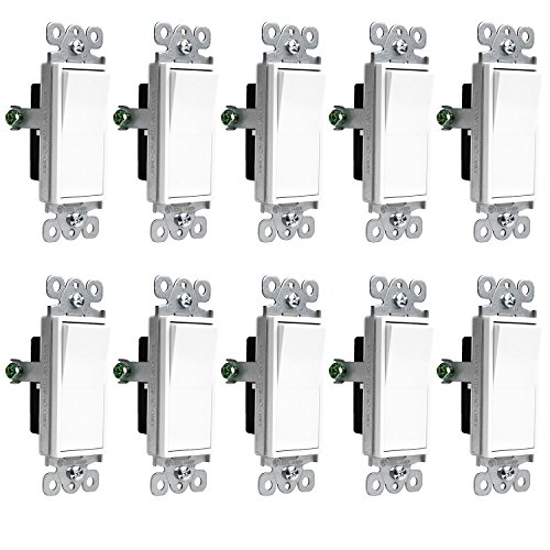 Enerlites Decorator On/Off Paddle Wall Switch 91150-W | 15 Amp, 125V/277V, AC, Single Pole, 3 Wire, Grounding Screw, Residential and Commercial Graded Light Switch, UL Listed | White - 10 Pack