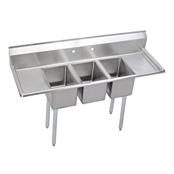 Three Compartment Sink Faucet.Elkay Foodservice 3 Compartment Sink 66 X19 75 Oa 36 Working Height 10x14 Bowl 10 Deep 10 75 Backsplash Left Right 16 Drainboards 8 On