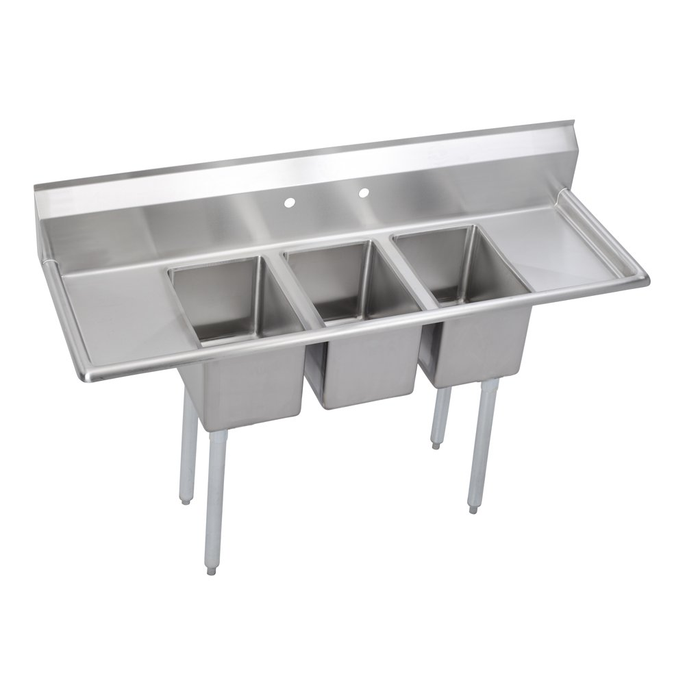 Standard 3-Compartment Deli Sink, (2) 12'' drainboards