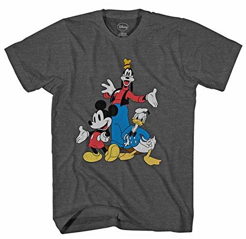 (Disney Big Three Trio Mickey Mouse Donald Duck Goofy T-Shirt (Medium, Charcoal Heather))