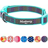 """Blueberry Pet 13 Patterns Magic Rainbow Color Reflective Polka Dot Holo Dog Collar in Mint Blue, Medium, Neck 14.5""""-20"""", Adjustable Collars for Dogs"""