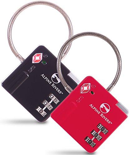 Alpine Rivers TSA Approved UltraFlex-Lock for Travel (Black & Red) ()