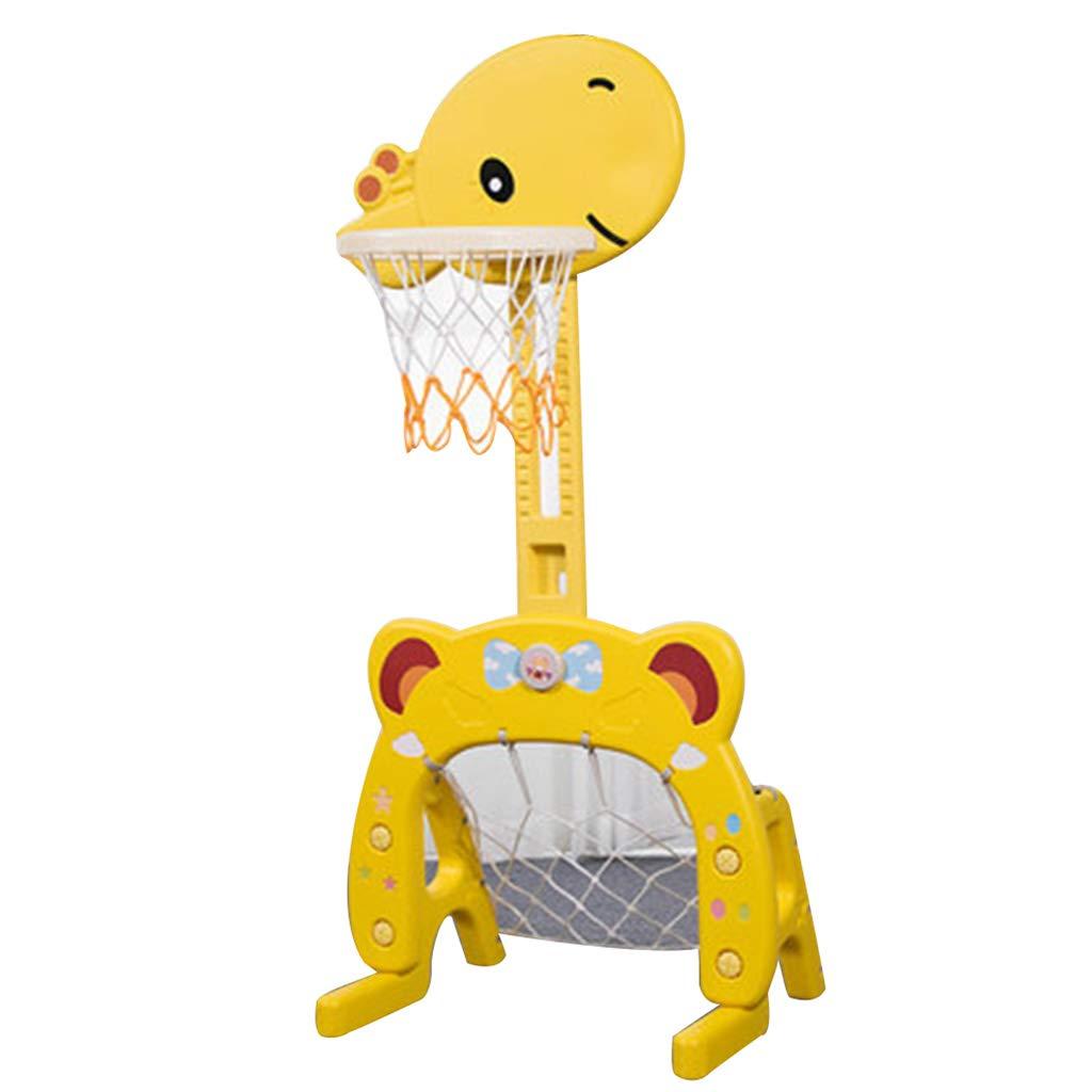 床置きのバスケットボールフープ子供のバスケットボールの棚ベビー屋内の家庭用リフトバスケット小さな男の子と女の子のボールのおもちゃバスケットボール/フットボール/フェレル ボールボールケース (Color : Yellow, Size : 60 * 137 cm/24 * 54 inch) 60*137 cm/24*54 inch Yellow B07GWG223F