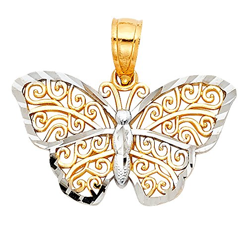 (14k Two Tone Gold Butterfly Charm)