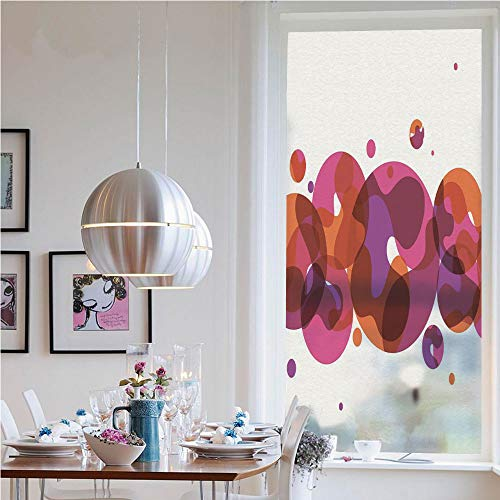Window Decal Vinyl Glass Cling,Circles Small and Big Dots with Wavy Patterns Artistic Bubbles Border Decorative(19.7