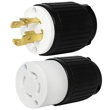 30A 125//250V L14-30 Twist Lock 4-Wire Electrical Female Plug Locking Male Set