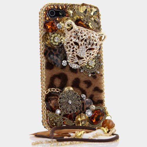 iPhone 8 Plus Case, iPhone 7 Plus Case, [Premium Handmade Quality] Bling Genuine Crystals Leopard Cheetah with Feather Charm Hybrid Protective Cover for iPhone 8 Plus / 7 Plus by LUXADDICTION