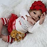 Baby Silicone Reborn Best Deals - Silicone Reborn Baby Lifelike Girl Dolls Little helper Baby Alive Stuffed Body,22-Inch by NPK