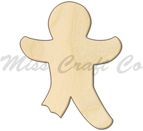 Amazon Com Gingerbread Man Wood Shape Cutout Wood Craft Shape Unfinished Wood Diy Project All Sizes Available Small To Big Made In The Usa 8 X 6 3 Inches