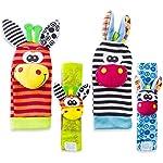 Baby Rattle Neonato Sonagli Calzini da Polso a Sonaglio per Bambini, Simpatici Animaletti Developmental Soft Toys… Abbigliamento Baby Rattle 18