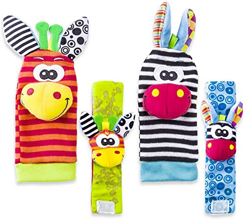 Baby Rattle Neonato Sonagli Calzini da Polso a Sonaglio per Bambini, Simpatici Animaletti Developmental Soft Toys… Abbigliamento Baby Rattle 8