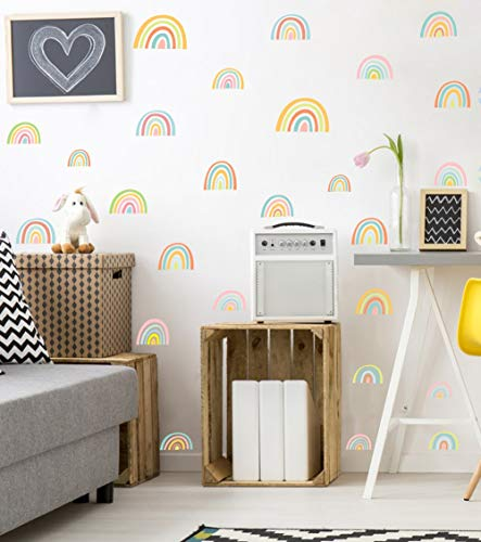 - IARTTOP Rainbow Wall Decal, Attractive Watercolor Removable Vinyl Sticker for Kids Room Nursery Decor (52pcs Multicolor Decals)