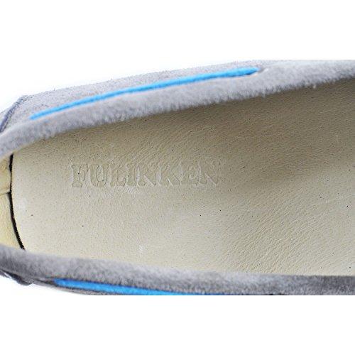 Fulinken Heren Leren Mocassin Slip-on-stropdas Loafers Aan De Voorkant Causale Heren Schoenen Rijdende Schoenen Grijs
