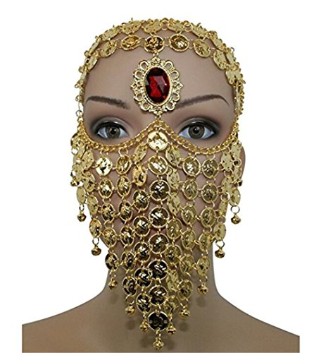 ZYZF Red Gem Belly Dance Egyptian Halloween Costume Headwear Coins Face Mask Veil Tribal Bedouin Burka Burqa Metal Head Chain (Golden)