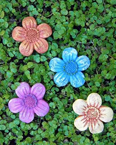 Miniature Dollhouse Fairy Garden ~ 4 Fairytale Flower Pavers Stepping Stones