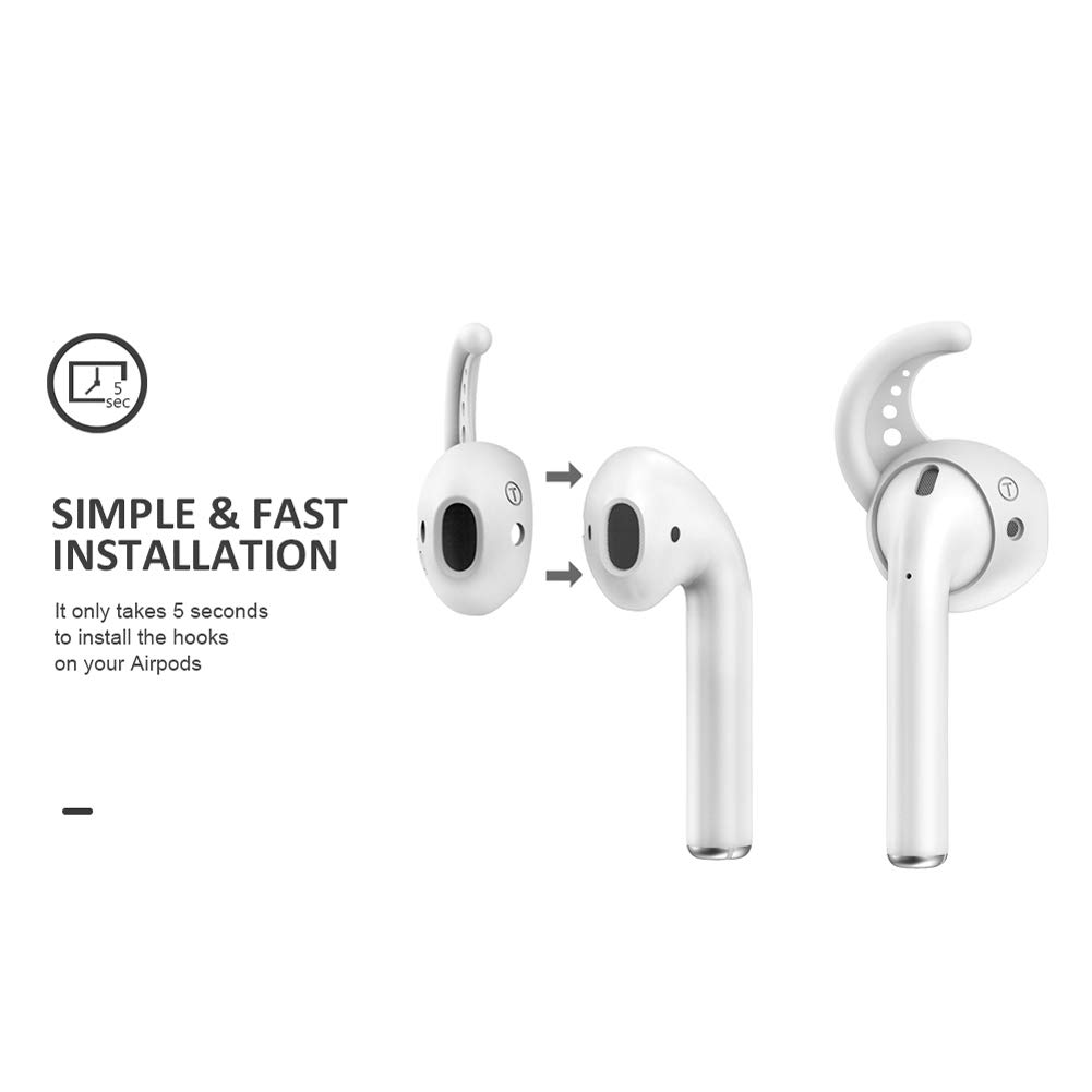 Ear Hooks Cover Headphone Earpads ZJXD Silicone Earbud Tips with Wings Anti-Slip Compatible with Apple AirPods Apple EarPods Headphones iPhone EarPods Earphones 2 pairs of white + 2 pairs of black