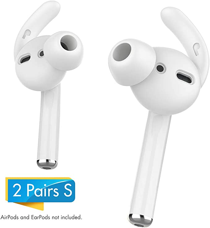 AHASTYLE AirPods Ear Hooks Covers 2 Pairs Silicone Antislip Earbuds Tips [Sound Quality Enhancement] for Apple AirPods 2 & 1 or EarPods (Small &