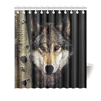 CTIGERS Animal Shower Curtain Cool Wolf Birch Tree Polyester Fabric Bathroom Decor 66 X 72 Inch