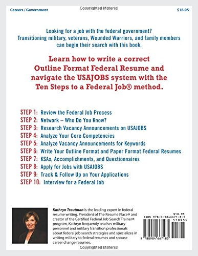 jobseekers guide ten steps to a federal job for military personnel and spouses 7th ed kathryn troutman 9780984667185 amazoncom books