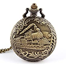 Mapletop Unisex Pocket Watch Antique Case Vintage Brass Rib Chain Quartz Train Printed (Gold-1)