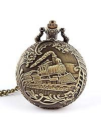 Mapletop Unisex Pocket Watch Antique Case Vintage Brass Rib Chain Quartz Train Printed (Gold-1)