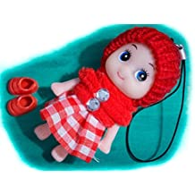 Red Cute Snug Cozy Doll Wool Pompom Toy Charm Keyring Keychain Key Chain Soft Fluffy Cotton Knit Hat Gem D Dung D-Dung Sweet Unusual Innocent Hipster (Red)
