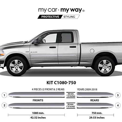 My Car My Way (Fits Ram 1500 2009-2018 6.33' Box Quad Chrome Body Side Molding Door Guard Moulding Cover Trim Door Protector ()