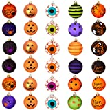 Spooky Shatterproof Tree Ornaments 30 Pk for Halloween or Christmas. Ghost, Eyeball, Pumpkin and Spider Ornament Ball Set for Party Decor. Best Vase Filler Balls. Craft a Creepy Centerpiece or Wreath