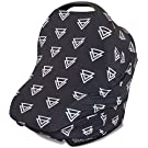 Stretchy 3-in-1 Carseat Canopy | Nursing Cover | Shopping Cart Cover | Infinity Scarf- Black Triangle Print | Best Baby Gift for Boys & Girls | Fits Most Infant Car Seats | For Breastfeeding Moms