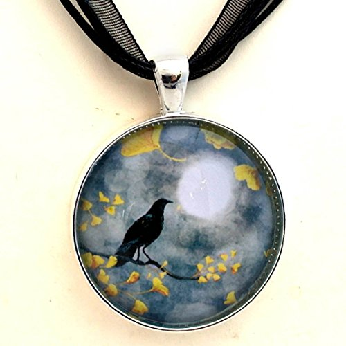 Raven Necklace Rain Crow Gingko Leaves Bird Handmade Jewelry Art Pendant