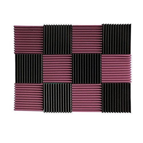 "(12 Pk) 1""x12""x12"" BURGUNDY / CHARCOAL Acoustic Panels Soundproofing Foam Acoustic Tiles Studio Foam Sound Wedges (12T)"