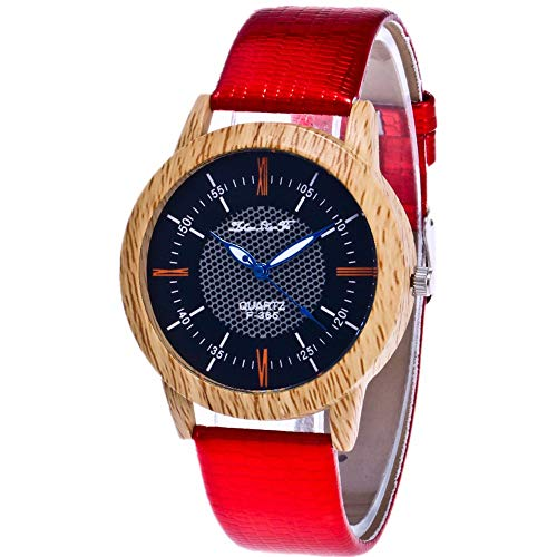 Star_wuvi Unisex Watches Women's Men's Minimalist Wooden Leather Analog Quartz Wrist Watches Bracelet Watch for Lover's Gift (Red)