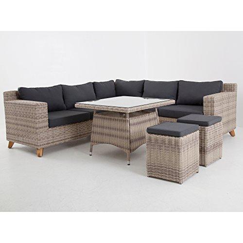 Lounge ecksofa garten  Amazon.de: Hochwertige Tischgruppe in Grau-Braun Polyrattan ...