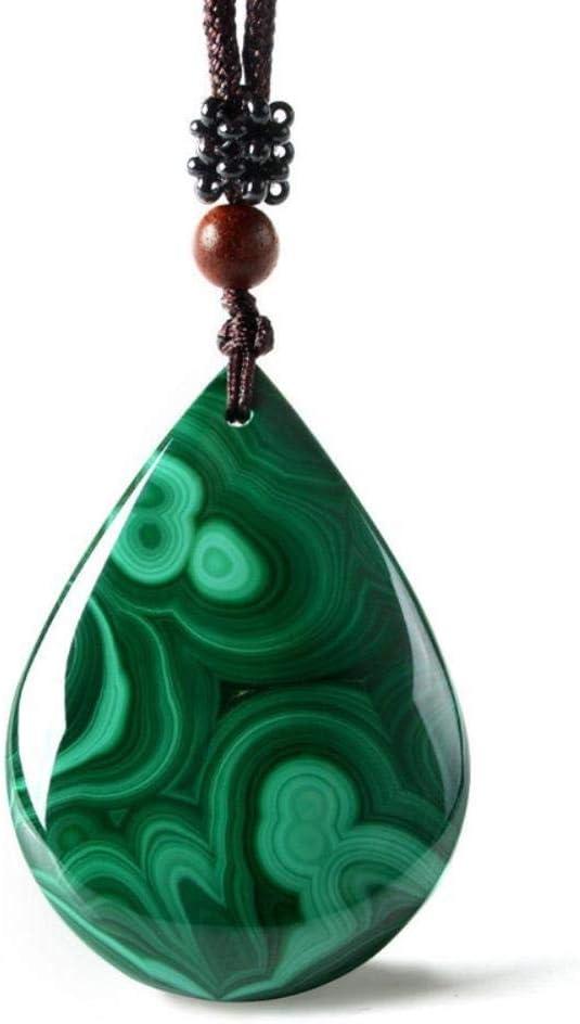 FUYU Collar de malaquita ColganteGota de Agua Colgante de Jade Joyería de Jade Joyería Fina, sin Certificado