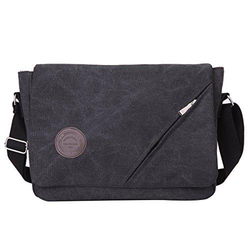 Eshow Herren Canvas Freizeit Täglich Umhängetasche Schultertasche Taschen (Schwarz 2)