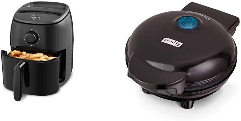 Dash DCAF200GBBK02 Tasti Crisp Electric Air Fryer + Oven Cooker, 2.6Qt, Black & Mini Maker: The Mini Waffle Maker Machine - Black
