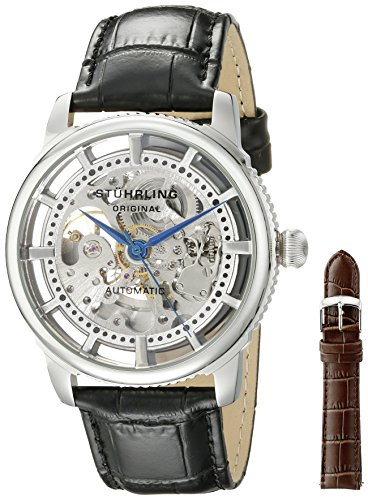 Stuhrling Original Classic Winchester Skeleton Watch Set Men's Automatic Watch with Silver Dial Analogue Display and Black Leather Strap 393.33152Set