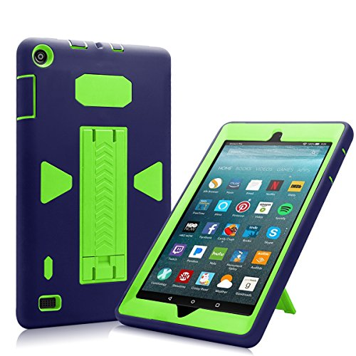 All-New Amazon Fire 7 2017 Case, Eontry Shockproof Heavy Duty Full Body Cover Rubber Plastic Protective Case with Build-in Kick Stand For All-New Fire 7 (7th Gen 2017 Release) (Navy + Green) by Eontry