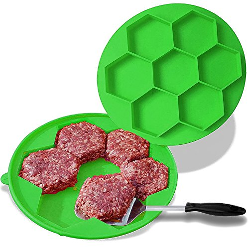 Silicon Burger Press and Freezer Container, Bukm 7 in 1 Hamburger Patty Maker Burger Press, FDA Approved Eco-Friendly BPA-Free Silicone, BBQ Accessories (Green)
