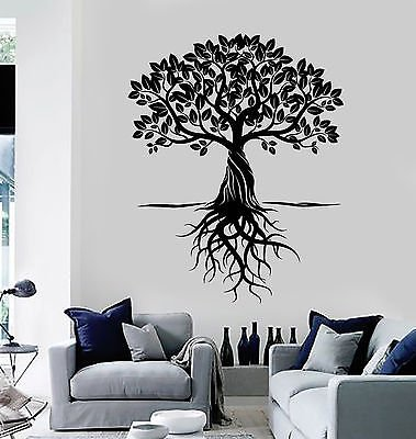 Vinyl Wall Decal Tree Roots Leaves Home Art Decor Stickers Murals