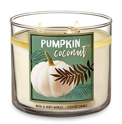 Bath and Body Works Pumpkin Coconut - Large 14.5 Ounce 3-Wick Candle - Limited Edition Fall Pumpkin Cafe