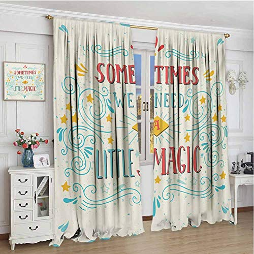 championCEL Magical, Window Curtain Fabric, We Need Little Magic Frame Print with Ornate Swirl Figures Motifs Retro Pop Art Style, Home Decoration Thermal Insulated, Multi, 72x84 inch (Industrial Light And Magic The Art Of Innovation)