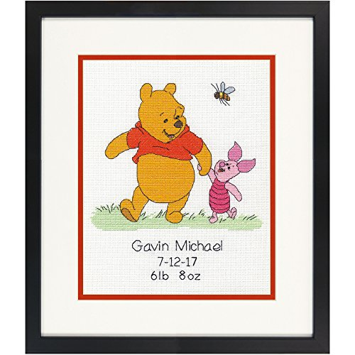 Dimensions 70-35357 Disney Winnie The Pooh Birth Record Counted Cross Stitch Kit, Winnie The Pooh Cross Stitch,  8